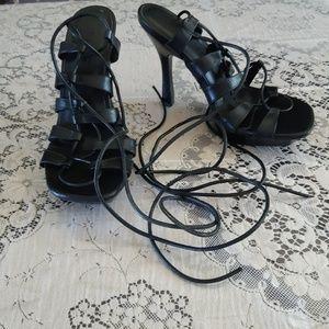 Aldo Black Srappy Tied Heeled Sandals Size 6